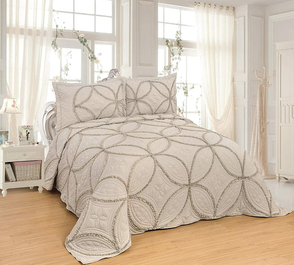 OctoRose 3pc Nice Design 106x96 Fully Quilted with Lace Bedspread Coverlets Bed Cover Pillow Sham