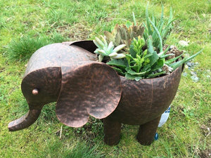 "Hand made Metal plant holder for fake or real plant or flower  (Elephant-17.5x10x11.25"")"