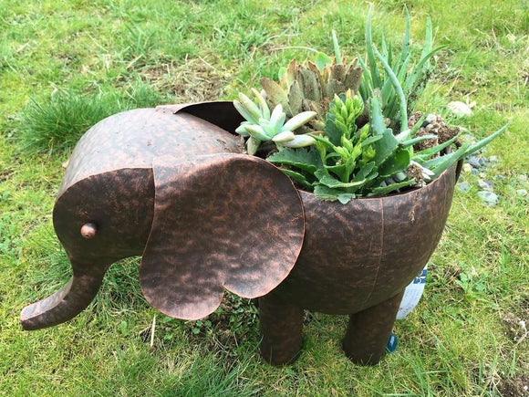 Hand made Metal plant holder for fake or real plant or flower  (Elephant-17.5x10x11.25