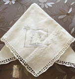 OctoRose  Christmas Tree White 100% Thick Cotton Crocheted Lace  Gorgeous Table Runner or Placemats, Doillies or Napkins
