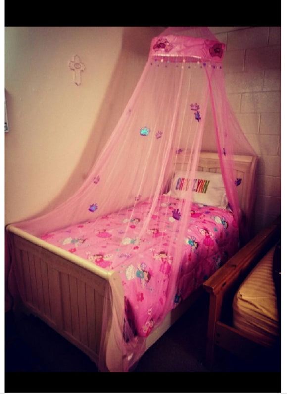 OctoRose Princess Crown Bed Canopy, Mosquito net for Crib, Twin, Full, Queen or King Size Pink White