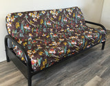 OctoRose High Quality Upholstery Linen Printing Birds 3 Side Zipper Futon Cover (No frame and mattress included) Sofa Bed Mattress Protector