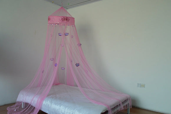 OctoRose Princess Crown Bed canopy , mosquito net for crib, twin, full, queen or king size (Pink)