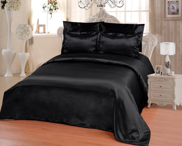 OctoRose 6 PCS Duvet Sheet Set, Supreme Quality Sexy Silky Satin,1 Large Size Double heads Zipper Duvet Cover,1 Fitted Sheet, 2 Pillow case,2 Pillow Shams