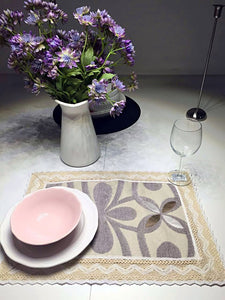 OctoRose Set of 4  Chenille with Cotton Lace Placemats