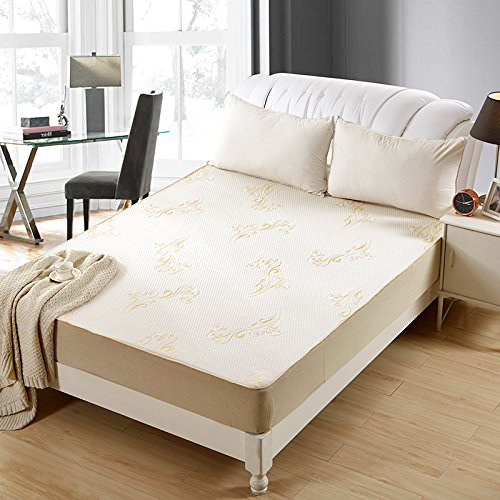 OctoRose Premium Quilted Chenille Waterproof Fitted Sheet Mattress Protector. Comfortable vinyl free protection from dust mites, allergens, perspiration and fluid spills