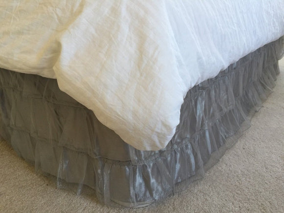 OctoRose Royalty 3 Layer Organza & Satin Easy Fit Bed Dressing Waterfall Bed Skirt Dust Ruffle, Bedskirt