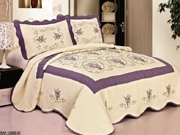 OctoRose 3 pcs Nice Design 102x94 inch Fully Quilted Embroidered  Bedspread Coverlets Bed Cover Pillow Sham Set