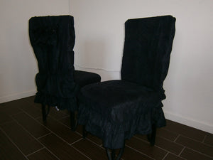 OctoRose Set of 2 Micro Suede Shortly Skirt Ruffle Dining Chair Covers