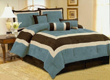 OctoRose 7pcs Micro Suede  Comforter Set Bedding in a Bag Set