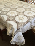 "OctoRose 100% Cotton Crocheted Lace Tablecloth Gorgeous Wedding / Party Tablecloth Vintage Dining Kitchen 70x90"", 70x108"", 70x120"", 70x144"""