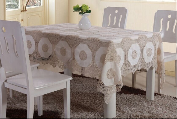 OctoRose 100% Cotton Crocheted Lace Tablecloth Gorgeous Wedding / Party Tablecloth Vintage Dining Kitchen 70x90