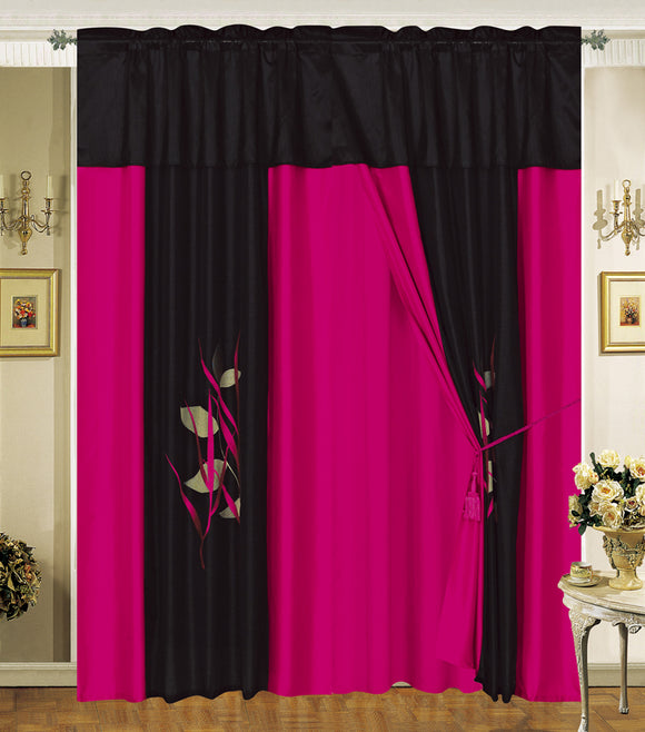 OctoRose Pair of Embroidery Design Window Curtain/Drapes/Panels with Sheer Linen Valance and Tieback