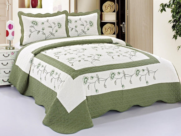 3pcs High Quality Fully Quilted Embroidery Quilts Bedspread Bed Coverlets Cover Set , Queen, Full, or Small King