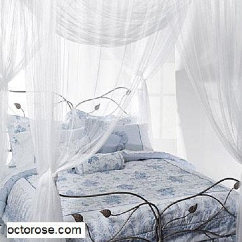 OctoRose ® 4 Poster Bed Canopy Netting Functional Mosquito Net Full Queen King