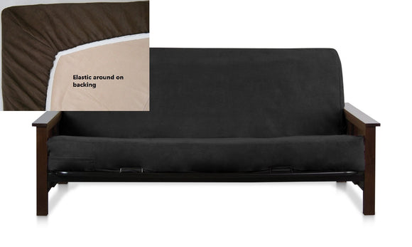OctoRose Queen Size Elastic Around on Backing Bonded Micro Suede Easy Fit Fitted Futon Cover, Sofa Bed Mattress Protector can fit up to 10 inch thick mattress