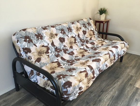 OctoRose Canvas Flower Design Futon Cover Twin or Full Size (Cover Only, Mattress and Frame NOT Included) Sofa Bed Mattress Protector