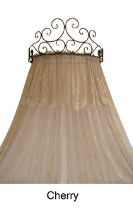 Metal Wall Teester Bed Canopy Drapery Bed Crown Hardware Sculpture Cherry Color