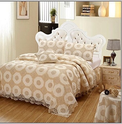 OctoRose  Beige / Off White Color 100% Thick Cotton Material with Hand Crochet Bedspread Set