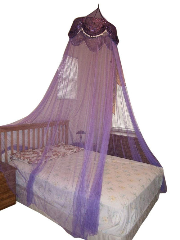 OctoRose Large Hoop Sequins Valance Bed Canopy Mosquito Net Elegant  Screen Netting fit Crib Twin, Full, Queen, King or Cal king size Bed