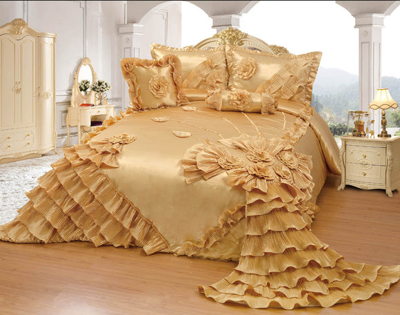 OctoRose Royalty Oversize Wedding Bedding Bedspread Comforter Quilts Set
