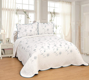 OctoRose 3 pcs Nice Design 106x96 inch Fully Quilted Embroidered  Bedspread Coverlets Bed Cover Pillow Sham Set