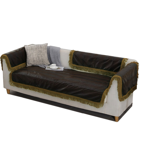 OctoRose Leather Look Black or Brown Sofa couch Sofa Sleeper Cover with Anti-slip backing and buckle tight Sold by Piece