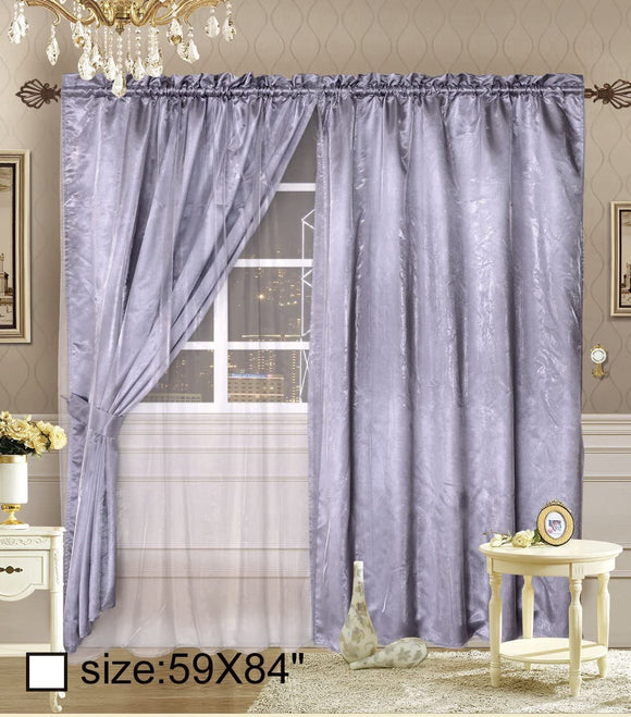 OctoRose Royalty Organza Window Curtain Panel, Window Curtain Set (118x84