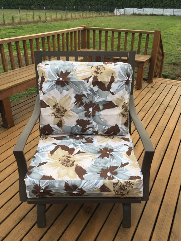 OctoRose Upholstery Canvas and Solid Micro Suede Reversible 3 Side Zipper Patio Chair Back and Seat Cushion Cover  20x25