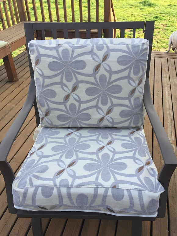 OctoRose Chenille Grey Mix and Solid Micro Suede Reversible 3 Side Zipper Patio Chair Back or Chair Seat Cushion Cover  20x25