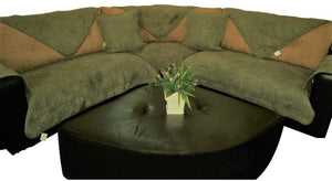 OctoRose  Quilted Micro Suede Camel, Peat, Sage Green, or Navy Blue, Wine Sofa Couch Protector Sectional Sofa Cover