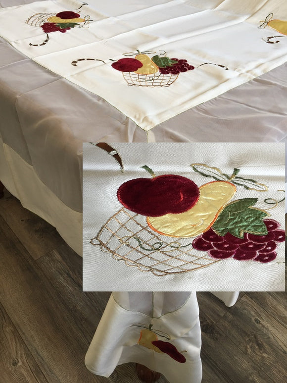 OctoRose High Quality Elegant Artex style embroidery plus trim lace based Table cloth / table cover / table linen 72x108