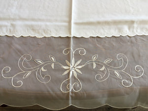 OctoRose High Quality Elegant Artex style embroidery plus trim lace based Table cloth / table cover / table linen 72x108""