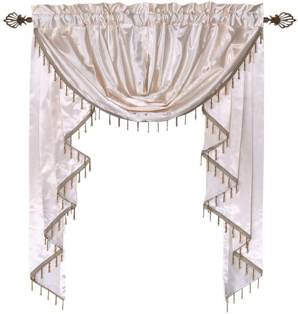 OctoRose Royalty Custom Waterfall Window Valance Swags & Tails, Window Curtain Set 66x47