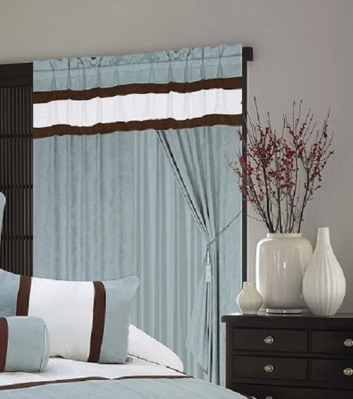 OctoRose Pair of Micro Suede Window Curtain/Drapes/Panels with Sheer Linen Valance and Tieback
