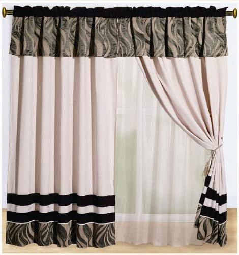 OctoRose Micro Suede/Chenille Black, Beige and Taupe Windows Curtains/Drapes with Sheer Linen Valance and Tieback