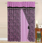 OctoRose Pair of Zebra Printing Short Fur Red Window Curtain/Drapes/Panels with Sheer Linen Valance and Tieback