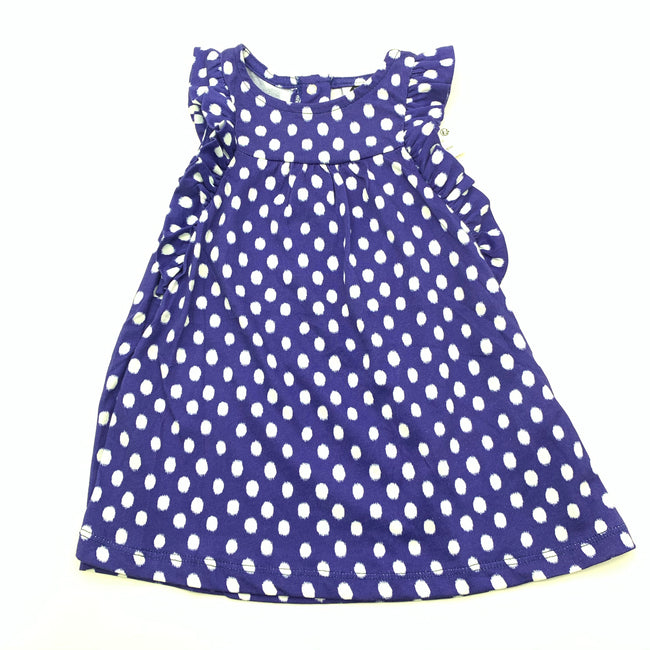 Blue Baby Dress White Dots 6M