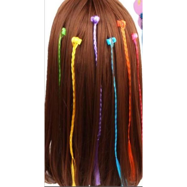 6pcs/set Girls Rainbow Hair Clips Twist Wig Hairpins Bohemian Braid Headband for Kids