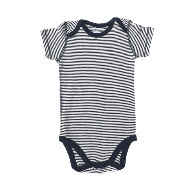 Moon and Back - Short Sleeve Bodysuit Striped White/ Dark Blue 18M