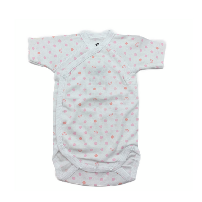Z-Generation Short Sleeve Bodysuit White/ Rose Clouds 0-3M