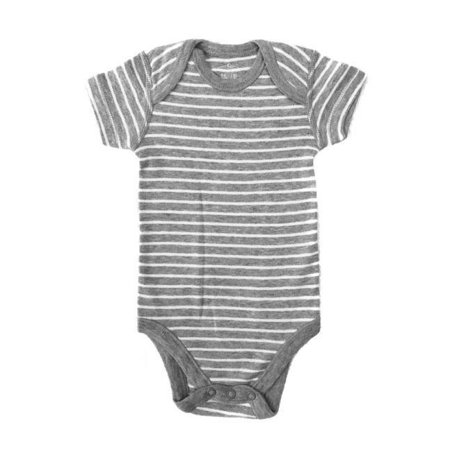 Moon and Back - Short Sleeve Bodysuit Striped Grey/White