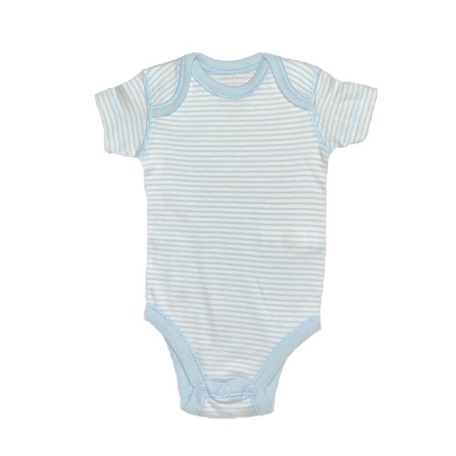 Moon and Back - Baby Boy Short Sleeve Bodysuit Baby Blue / White