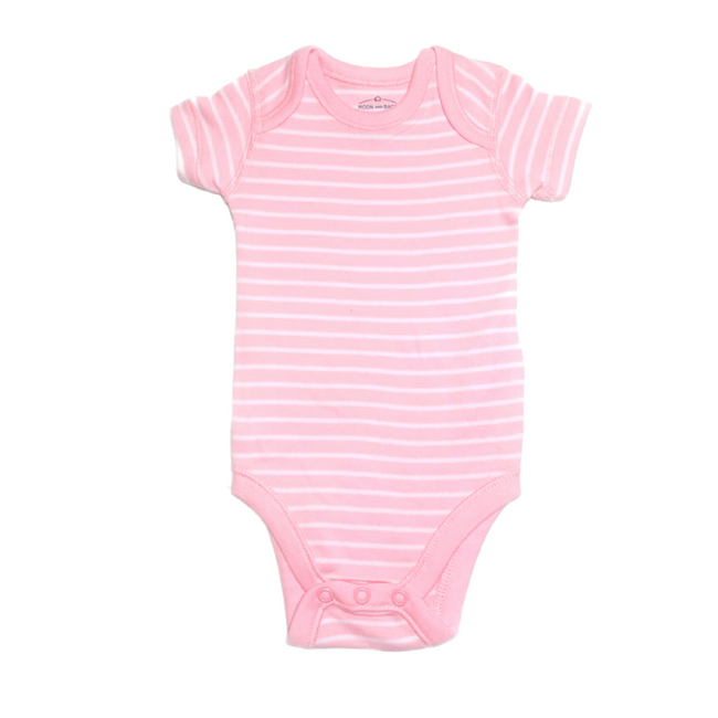 Moon and Back Short Sleeve Bodysuit Striped Rose/ White