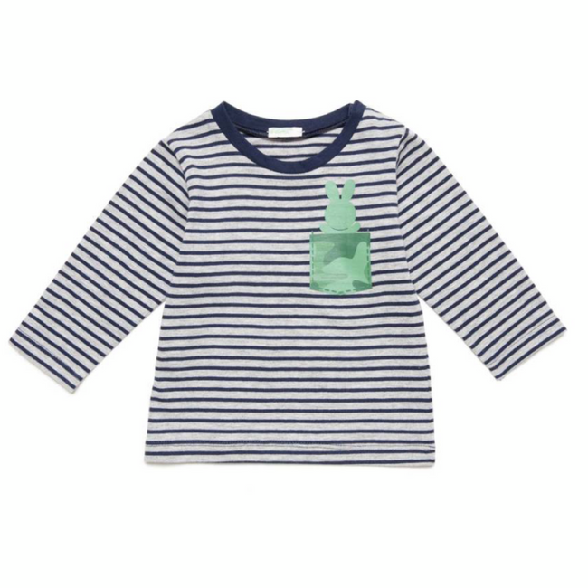 United Colors of Benetton Striped T-Shirt with Print Dark Blue/ Green Rabbit