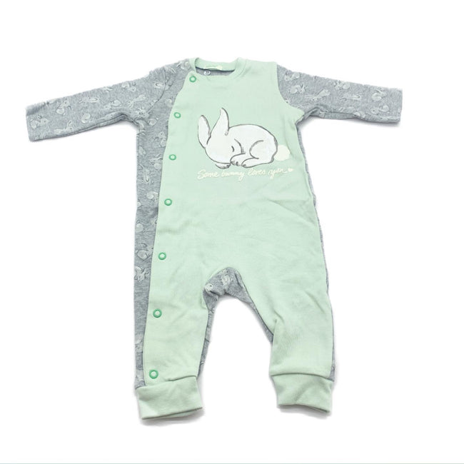 United Colors Of Benetton Green/ Grey Rabbit  Sleepsuit