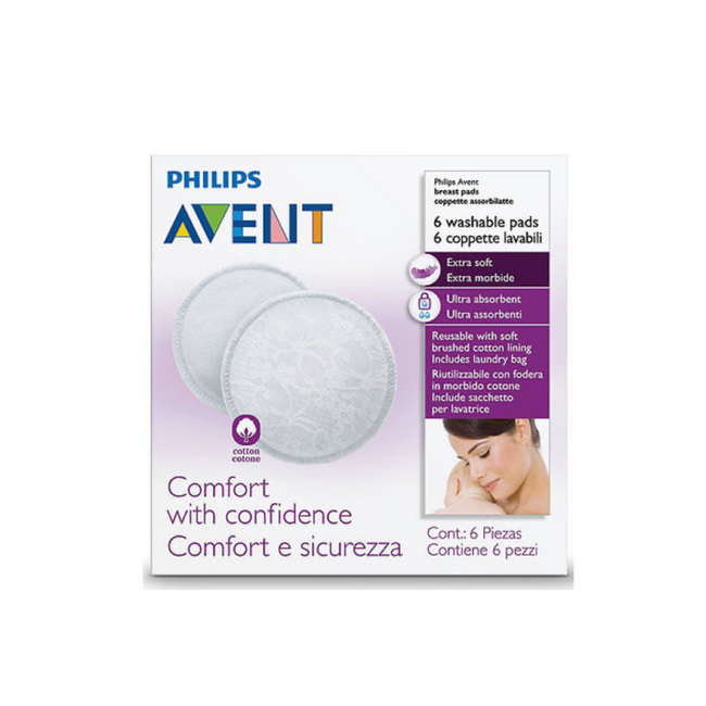 Philips Avent - Washable Breast Pads 6 PACK Reusable Sealed Breastfeeding Hygienic