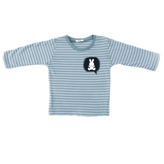 United Colors of Benetton Striped T-Shirt with Print Baby Blue/ Dark Blue