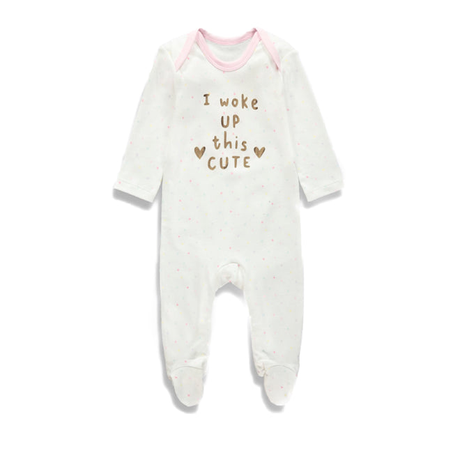 Matalan - Girls I Woke Up This Cute Baby Sleepsuit