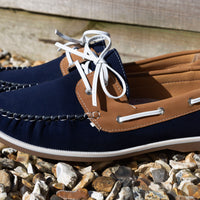 Tan Deck Shoes COOLERS Casual Navy/Tan Deck Shoe